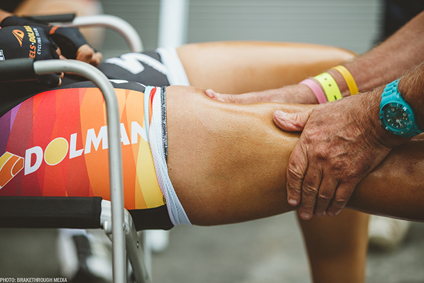 Massaging just before the start of La Course | Photo by Breakthrough Media