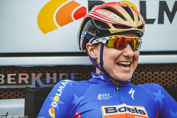 Megan Guarnier, National Champion for USA and riding for Boels Dolmans seems to be relaxed just before the start of La Course | Photo by Breakthrough Media