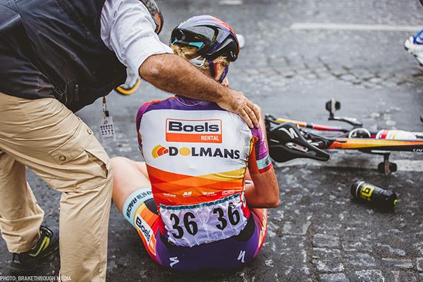 Ellen van Dijk just after her crash in La Course where she broke her collarbone | Photo by Breakthrough Media