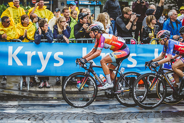 Chantal Blaak in front of the peloton during La Course | Photo by Breakthrough Media