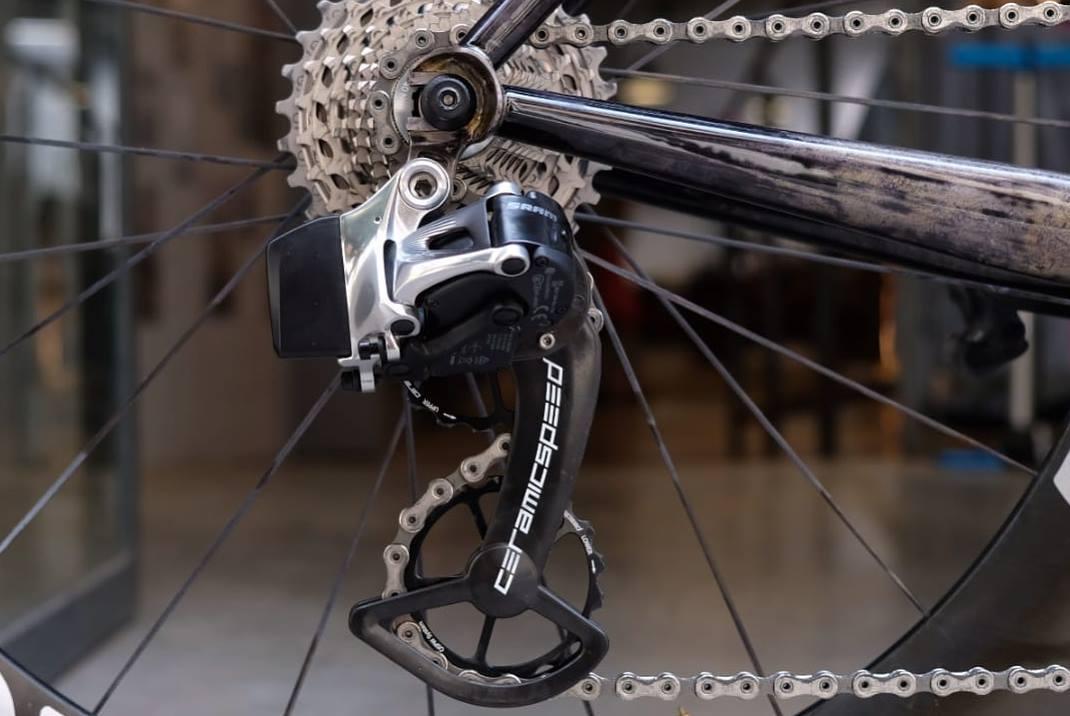 De stalen TT-Bike van Christian Meier is wel erg gaaf