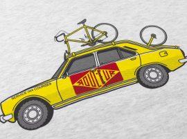 Een gele Peugeot 504 op je t-shirt