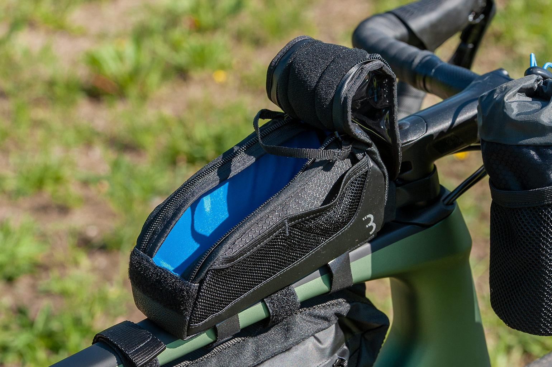 bbb toptank tas voor fiets met blauwe binnenkant